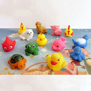 13Pcs Lovely Mixed Animals Colourful Soft Rubber Float Squeeze Sound Squeaky Bathing Toy For Baby