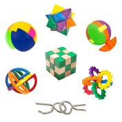 IQ Challenge Set by GamieUSA - 7 Pcs Kids Educational Toys for 5+ Year Olds - Highly Stimulating Brain Teasers - Challenging Mental Exercises for Sharp Young Minds - 100% Child Safe - Win Prizes