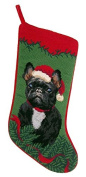 Black French Bulldog Dog Needlepoint Christmas Stocking
