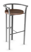 Rendezvous Counter Stool in Glossy Grey Metal Finish