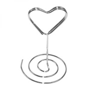 Silver Coloured Heart Place Card Holders 7cm 6 pack