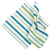 100% Cottom Aqua Lime & White Striped 60cm x 60cm Napkin, Set of 6 - St. Croix