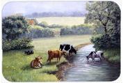 Cows Drinking at the Creek Bank Kitchen or Bath Mat 24x36 BDBA0350JCMT