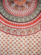 Indian Print Mandala Rectangle Cotton Tablecoth 240cm x 160cm Red