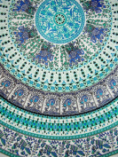 Indian Print Mandala Round Cotton Tablecoth 180cm Turquoise