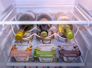 Sorbus 174 Fridge Wine Rack Refrigerator Bottle Rack Holds 3
