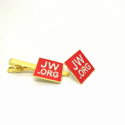 Perfect Present-jw.org gift necktie clip and lapel pin set-Square -With JW.ORG Logo Gift Box-Red