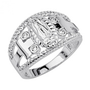 .925 Sterling Silver Rhodium Plated Religious Our Lady of Guadalupe Ring