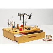 Wooden Fly Tying Station with Tools and Materials