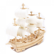 3d DIY Wooden Puzzle Toy or Hobby Decorative Merchant Ship Boat Model for Children