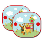 2 WINNIE THE POOH KIDS CAR WINDOW SUNSHADE SUN SHADE FOLDING BLIND SIDE PANELS CHILDRENS VISORS