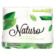 Naturo Toilet Tissue 2 Ply Long Roll 300 Sheets 8 Pack