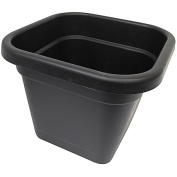 Interworld Square Black Recycled Resin Planter Pot 44L