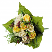 Artificial Multi Flower Rose Bunch Cream and Yellow 29cm
