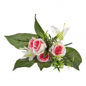Artificial Rose And Lily Bunch White & Pink 30cm