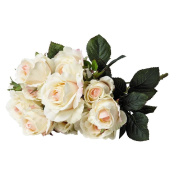 Artificial Rose Bunch Vintage Cream/Pink 10 Stems 48cm
