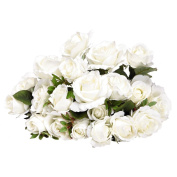 Artificial Rose Bunch White 10 Stem 48cm
