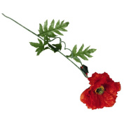 Artificial Single Poppy Red 72cm
