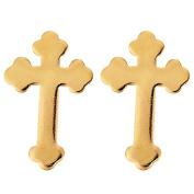 9ct Gold Cross Stud Earrings