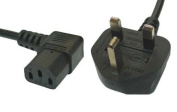10m Mains Power Cable with 90 Degree Right Angled Kettle Type IEC Socket by electrosmart® ~ Available in Black or White