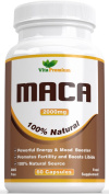 Maca Root Capsules 2000mg. High Strength Extract, 60 Veggie Capsules, Vita Premium Maca - Powerful Energy and Mood Booster, Can Help Promote Fertility and Boost Libido, Feel the Difference of Your Money Back