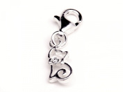 Genuine Silver 925 cat cz clip on charm ideal for Thomas Sabo bracelet or necklace