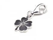 Genuine Solid Silver 925 clover leaf clip on charm ideal for Thomas Sabo bracelet or necklace