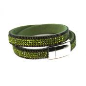 Bracelet slake wrap Crystal rhinestone brilliant green suede leather magnetic clasp