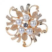 Yazilind Flower Pearl Pin Brooch Jewellery Crystals Brooch for Women