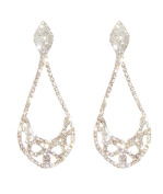 Costume Gold and Clear Diamante Clip On Large Pear Drop Earrings