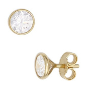 5.4 MM) with White Zirconia Round Solitaire Stud Earrings 333 Yellow Gold Earrings for Women