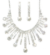 Costume Silver and Diamante Flower Drop Design Bridal Necklace and Matching Earring Set