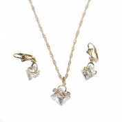 Decorative Necklace and Earrings Gold-Plated Metal Crystal Butterfly