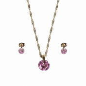 Decorative Necklace and Earrings Gold-Plated Metal Crystal and Round Pink