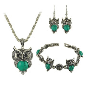 Koly Women's Girls One Set Of Retro Owl Bracelet + Necklace + Earrings Green
