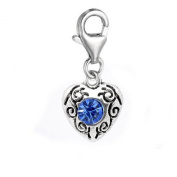 SEXY SPARKLES Women's September Birthstone Heart Charm For European Clip On Charm Jewellery W/ Lobster Clasp
