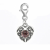SEXY SPARKLES Women's June Birthstone Heart Charm For European Clip On Charm Jewellery With Lobster Clasp