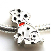 """SEXY SPARKLES Women's """"Slide On Dalmation Charm"""" For European Clip On Charm Jewellery W/ Lobster Clasp"""