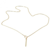 Women Gold Plated Crystal Bar and Hoop drop Necklace Shiny Pendant delicate necklace