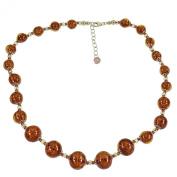 'Alek Sander Murano Star Stars Murano Glass Necklace with Chain of Vera di stelle Pol Aventurine Qurz Brown Rose Gold Vermeil on Sterling Silver