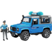 Bruder 02597 - Land Rover Defender Station Waggon Police Car with Policeman and Equipment, Blue