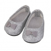 Bling Bling Silver Bownot Shoes for 46cm American Girl Dolls Party Dress