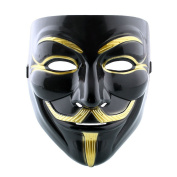 Costume Anonymous V for Vendetta Fancy Dress Guy Fawkes Halloween Mask High Quality - Black & Gold