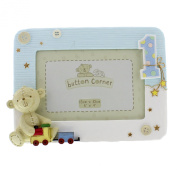 Button Corner 1st Birthday Blue Resin Photo Frame - Baby Boy frame with teddy