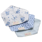 Bebedou 3 PACK Super Absorbent Pure Cotton . Bandana / Dribble Bib for Babies and Toddler BLUE MONKEY