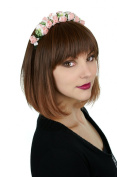 Prettyland - C307 Trendy Bob hairstyle with bangs in medium brown with blond streaks short wig