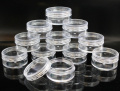 10 x 10mL EMPTY PLASTIC JARS POTS with CLEAR SCREW LIDS For Cosmetics/Powder/Mineral Make Up/Blusher/Foundation