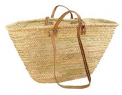 Moroccan Shoulder & Market Basket - Double Flat Tan Leather Handles - W55 D18 H30