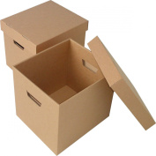 Storage Boxes - 375x278x260mm (14.75x11x10.25ins). Pack of 10 Strong Cardboard Boxes & Lids for Archiving/Filing. Easy to Carry with Hand Holes. Ideal for Storing or Moving Documents, Folders, Paperwork & Books. Flatpacked & Easily Assembled. Prompt De ..