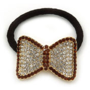 Medium Gold Plated Clear and Orange Crystal Bow Pony Tail Hair Elastic/Bobble